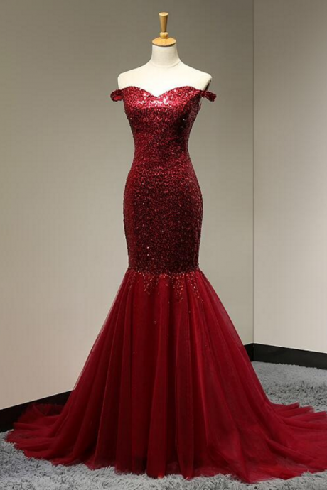 Off The Shoulder Sweetheart Dark Red Prom dress Beading Sequined Tulle Mermaid Party dress