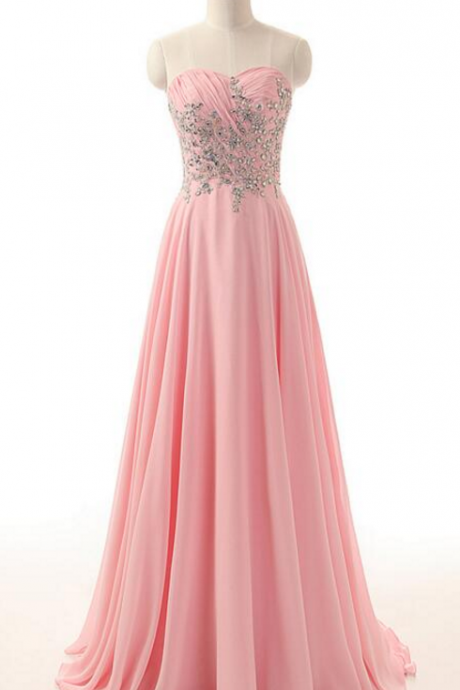 Custom Made Pink Sweetheart Neckline Chiffon Evening Dress with Crystal Beading , Prom Dress, Wedding Dress, Bridesmaid Dresses