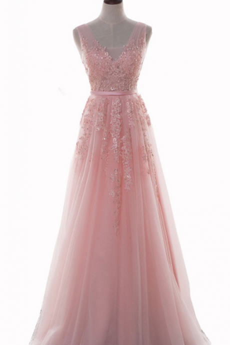 Pink V-Neck Prom Dresses Long Sexy Imported Party Dress Evening Wear Gowns Forma
