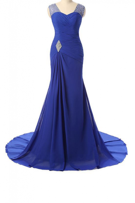 Stunning Chiffon Scoop Neckline Mermaid Evening Dresses With Beadings