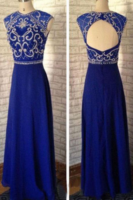 Round neck prom dress,long prom dress,chiffion prom dress,beautifil beading prom dress