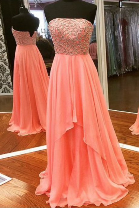 Strapless prom dress,long prom dress,beading and chiffion prom dress,high quality handmade prom dress,a-line princess prom dress