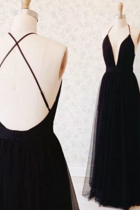 Black Plunge V Tie-Back Floor Length Tulle A-Line Formal Dress, Featuring Criss-Cross Open Back