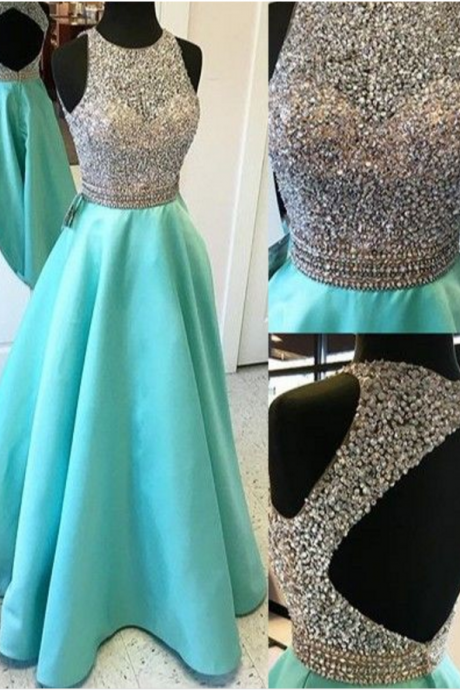 Sexy prom dress,open back prom dress,a-line princess prom dress,beautiful beading prom dress,long prom dress