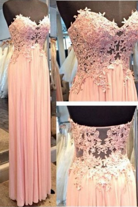 Lace Appliques Sweetheart Floor Length A-Line Prom Dress