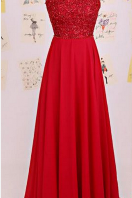 Red Halter Sleeveless Beaded A-line Long Prom Dress, Evening Dress Featuring Open Back