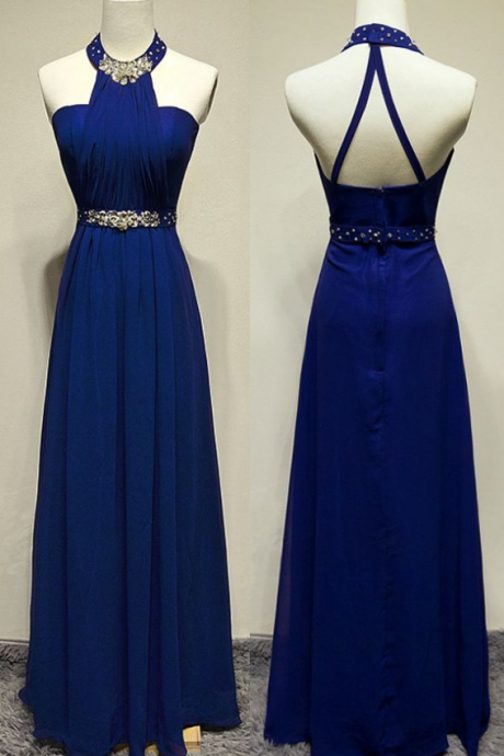 Royal Blue Strappy Halter Neckline A-Line Prom Dress with Crystal Embellishment