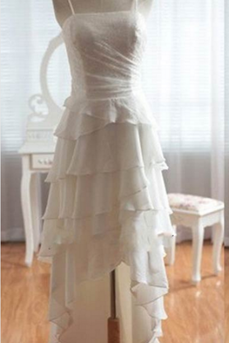 White Hi-Low Prom Dress Elegant Women dress,Party dress Custom A Line prom dresses