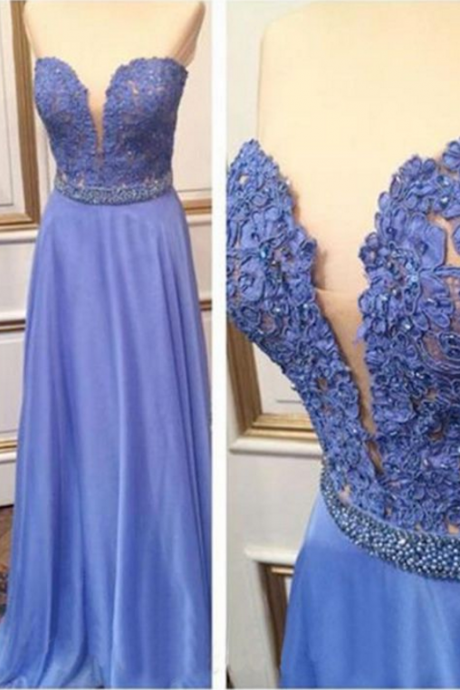 Sweetheart Neckline Blue Long Prom Dress