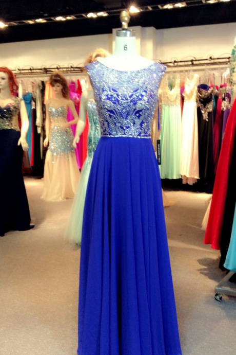 Royal Blue Chiffon Prom Dress with Beads