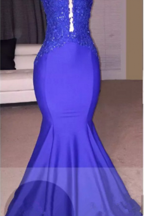 Royal Blue Mermaid Prom Dress with Lace