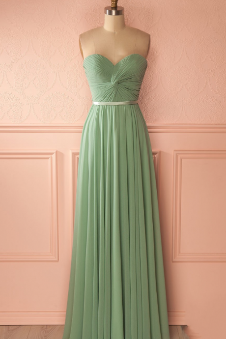 Strapless Sweetheart Twisted Ruched Floor-Length Chiffon Prom Dress, Evening Dress, Bridesmaid Dress Featuring Lace-Up Back