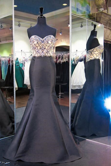 The black satin mermaid ball gown with beaded head, evening dress.