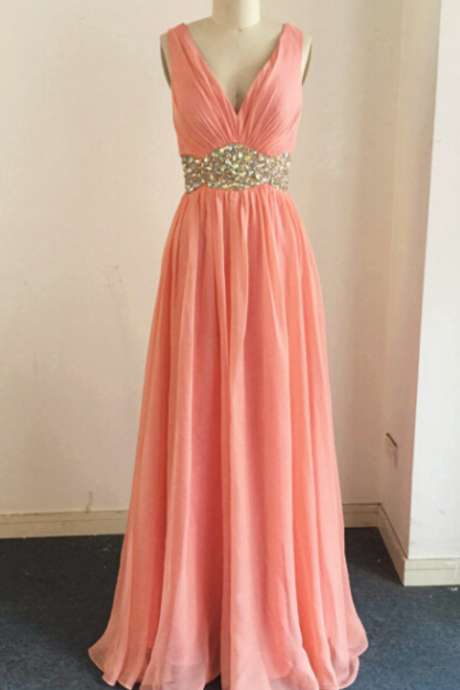 Chiffon Plunge V Sleeveless Floor Length A-Line Evening Dress Featuring Beaded Embellished Belt and Criss-Cross Open Back