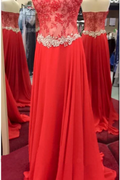 Red Prom Dress with Lace Bodice
