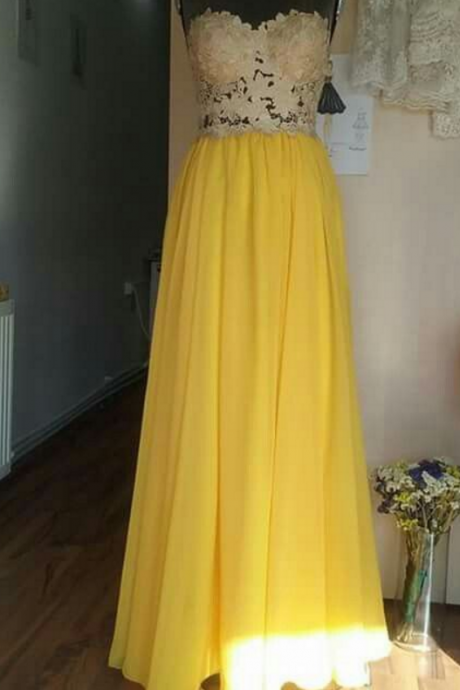 Illusion Bodice Yellow Long Party Dress Prom Dress
