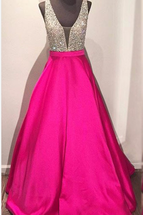 Plunging Neck Prom Dress with Open V-Back evening dresses