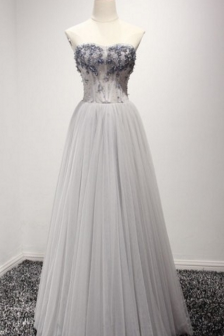 Gray Prom Dresses,Tulle Prom Dress Evening Dress