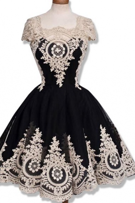 Graduated a-ligne wedding dress cape sweet Junior black gold open homecoming dresses