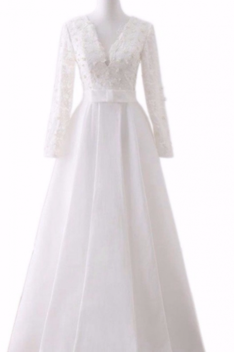 Dress lace the new evening gown of pearl gown, the evening long sleeve burning bride's beautiful dress gown