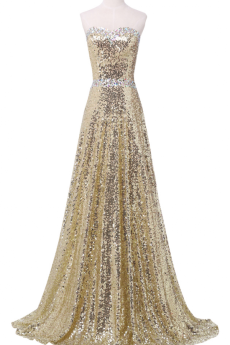 Gold Sequin Sweetheart Neckline Floor Length Prom Dress with Lace Up Back Detailing