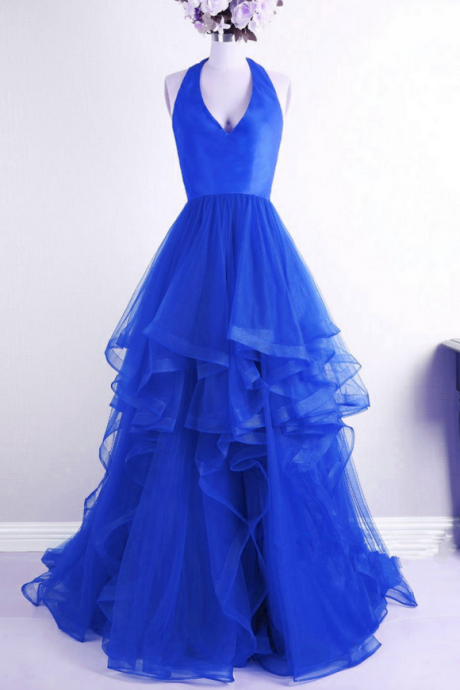 Beautiful Royal Blue V-neckline Halter Tulle High Low Party Dresses, Royal Blue Prom Dresses , Formal Gowns