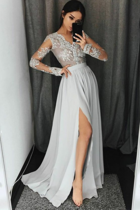 A-Line V-Neck Long Sleeves Light Grey Chiffon Prom Dress with Appliques