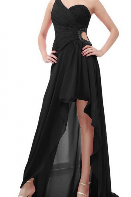 One-Shoulder Ruched Chiffon High-Low Prom Dress, Evening Dress with Cutout Detailing