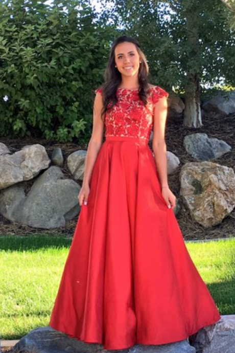 Sexy Prom Dress, Cap Sleeve Prom Dress,Red Formal Evening Dress,Long Evening Dresses,Appliques Prom Dresses