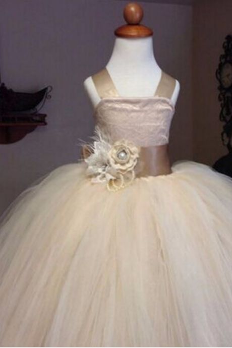 Flower Girl Dress,Champagne Flower Girl Dresses,Straps Flower Girl Dresses, Ball Gown Flower Girl Dress, Girls First Communion Dresses, New Hot Flower Girl Dress