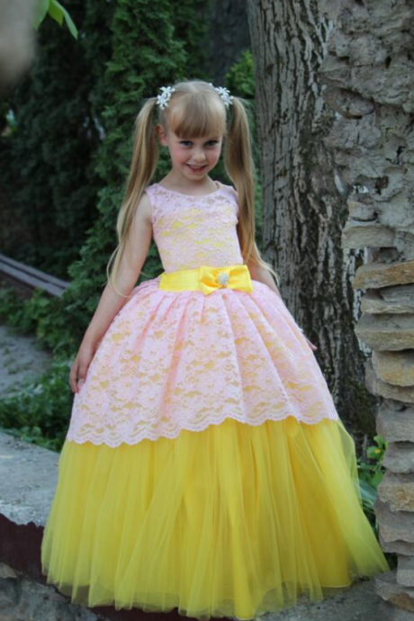 Flower Girl Dresses New Arrival Little Girl Ball Gown Bow Scoop Lace Pageant Floor Length Flower Girls Dresses For Children Prom Gown