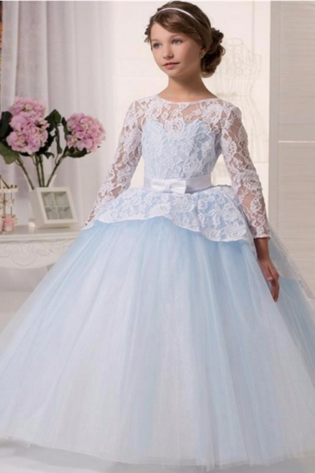 Flower girl dress,white flower girl dress,princess flower girl dress,girls party dresses, girls christmas dresses, flower girl dress, girls first communion dress