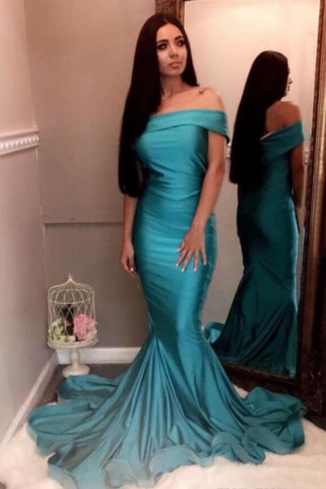 Cheap Long Mermaid Emerald Green Prom Dresses Evening Gowns Off The Shoulder Formal Dress
