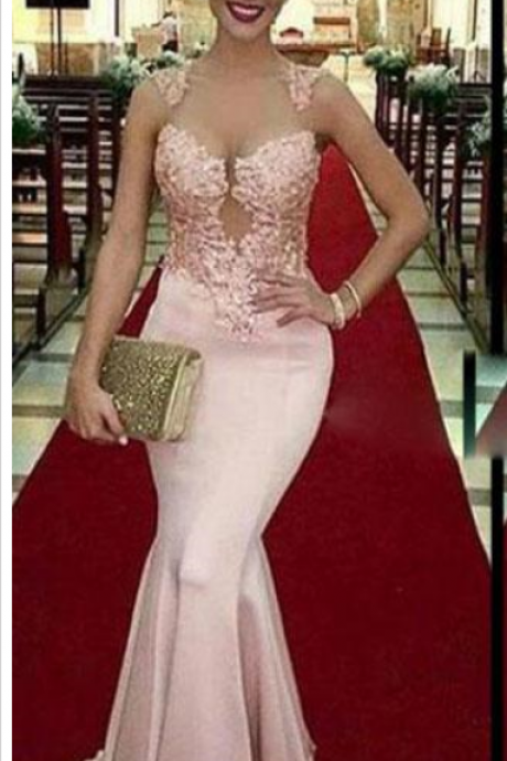 Pink Mermaid Prom Dresses with Lace Appliques Beaded Sheer Jewel Neck Prom Dress Elegant Custom Made Long Prom Gowns