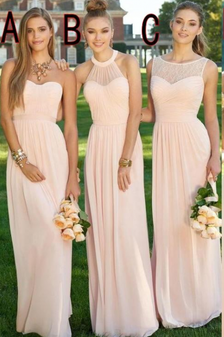 Pink Navy Cheap Long Bridesmaid Dresses Mixed Neckline Flow Chiffon Summer Blush Bridesmaid Formal Prom Party Dresses with Ruffles
