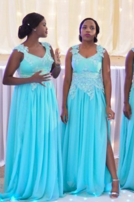 African Gegirian Light Sky Blue Cheap Chiffon Bridesmaid Dresses Applique Lace High Side Split Maid of the Honor Dresses