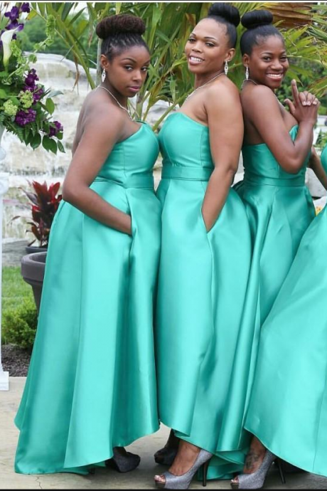 New DesignTurquiso Plus Size Bridesmaid Dresses Strapless Hi-lo Prom Party Dresses Evening Gowns Custom Made
