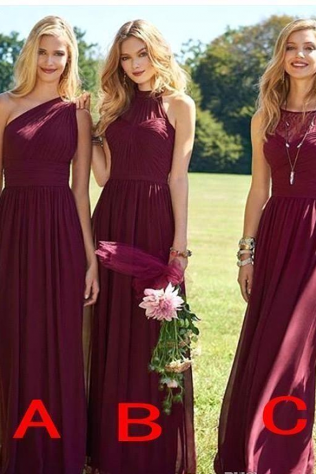 Elegant Burgundy Bridesmaid Dresses Long Wedding Guest Dress Chiffon Sweep Train Cheap Formal Pageant Gowns for