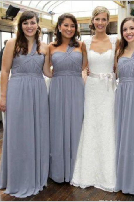 Shipping One Shoulder Chiffon Pleats Simple Bridesmaid Dresses Sweetheart A Line Floor Length Wedding Party Gowns