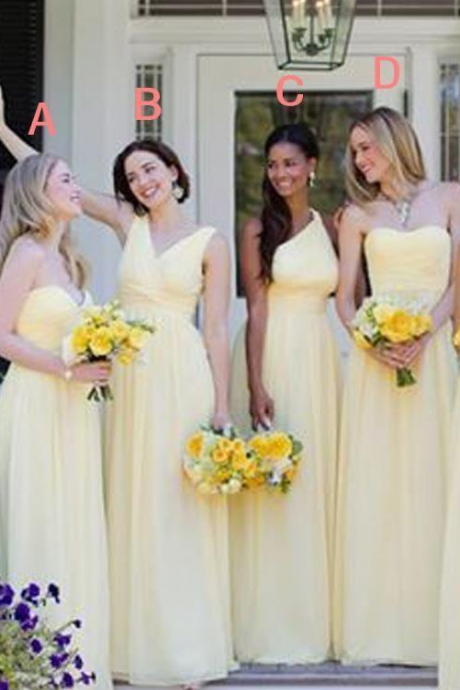 Bridesmaid Dresses Column Daffodil Sweetheart Ruched Draped Chiffon Sweep Train vestidos festa Maid Of Honor Gowns Wedding Guest Dress