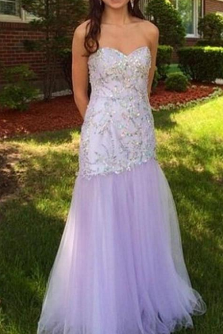 Gergeous Crystal Beading Tulle Mermaid Evening Dress, Sexy Long Lavender Prom Dress