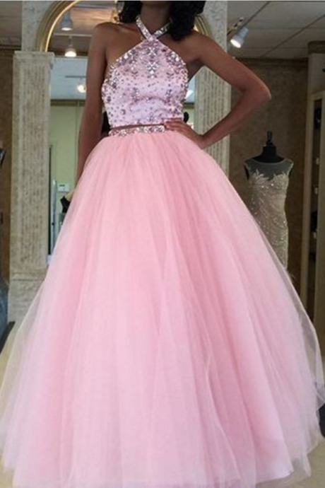 Charming Prom Dress,Two Pieces Prom Dress, Beading Dress,Halter Evening Dress