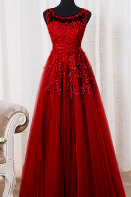 Dark Red Tulle Evening Dresses, A-line Round Neckline Formal Gowns, Charming Prom Dress,