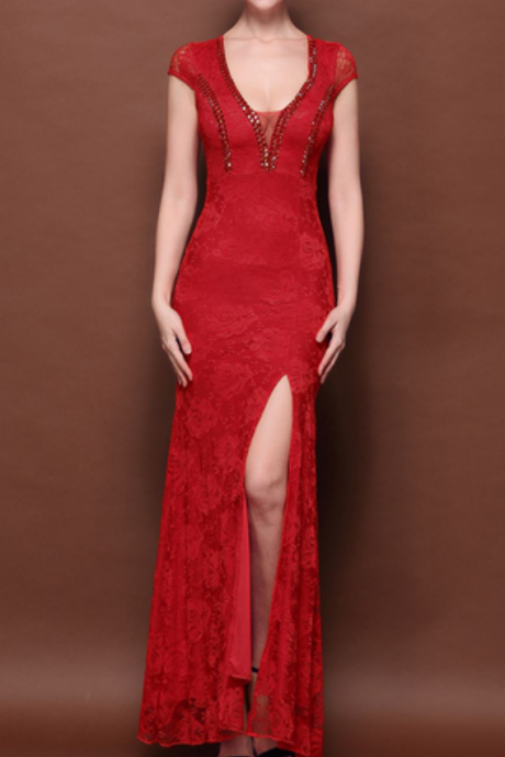 Red and Yellow Evening Dresses,Sexy Evening Dresses, Beaded Evening Dresses , Slit Evening Dresses, Floor Length Evening Gowns ,