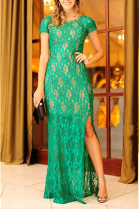 Mother Of The Bride Dress Elegant Floor-Length Gown, Slit Evening Dresses, Prom Dresses And Sexy Short Sleeve Formal Dress Mother