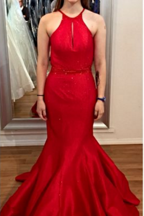 Custom Made Charming Red Prom Dresses, Sexy backless Halter Evening Dress, Backless Prom Dress, satin Mermaid Formal Gowns, Prom Dress,Formal Gowns Plus Size, Cocktail Dresses,