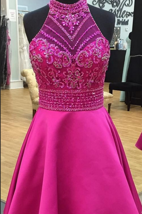 Modern Round Neck Illusion Back Short Rose Pink Prom/Homecoming Dress with Beading Rhinestone