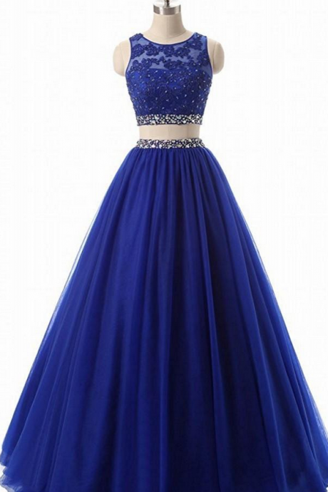 Royal Blue Jewel Neck Two Piece Prom Dresses Appliqus Beaded Formal Evening Dresses Party Gowns Robe De Soiree Special Occasion Dresses