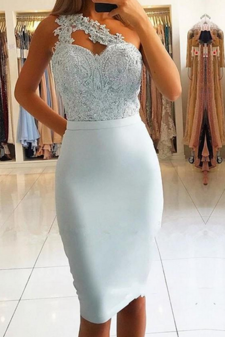 Elegant One Shoulder Mermaid Homecoming Dresses Lace Short Prom Dresses On Sale Special Occasion Dresses Sheath Column