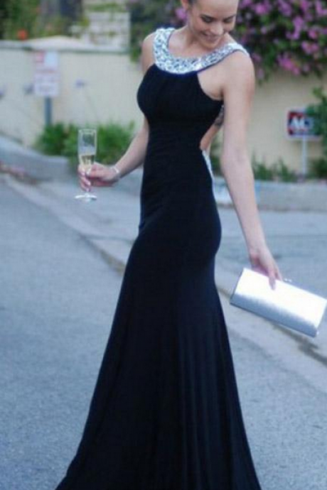 Sexy Open Back Mermaid Prom Dresses Trumpet Open Back Evening Dress with Crystal Beads Black Chiffon Formal Party Gowns